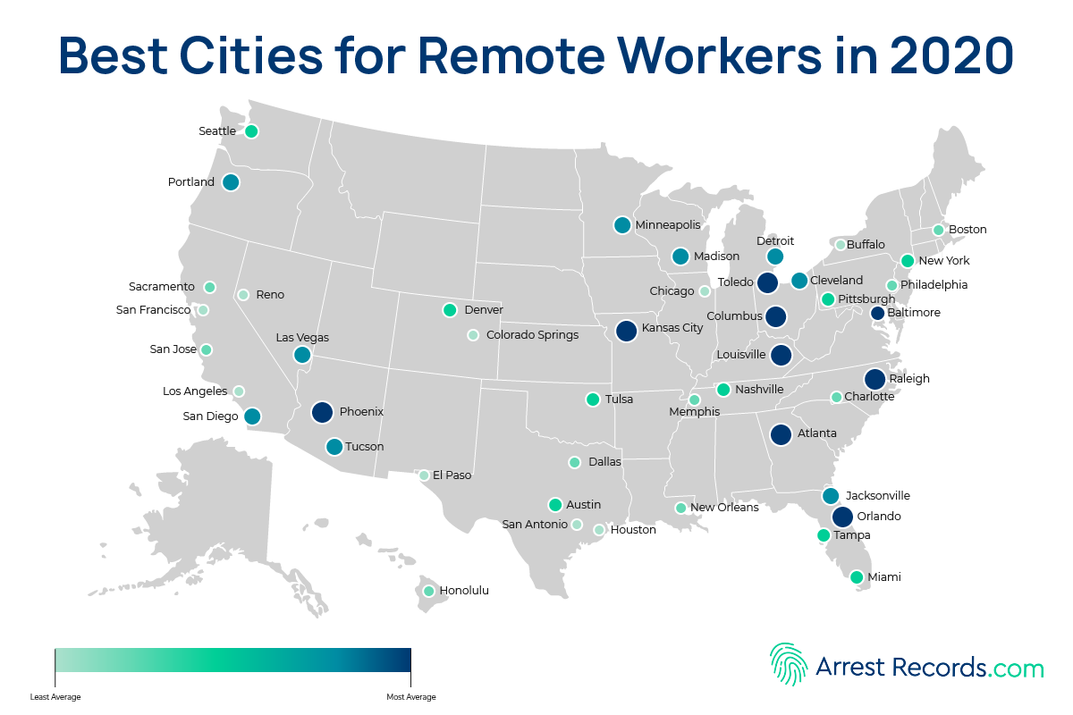 Best Cities Remote Work heat map