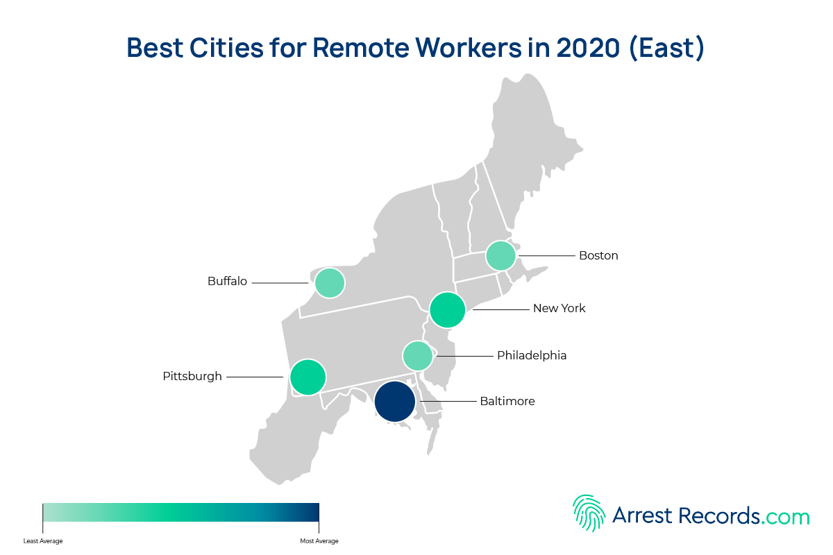 best cities remote work east
